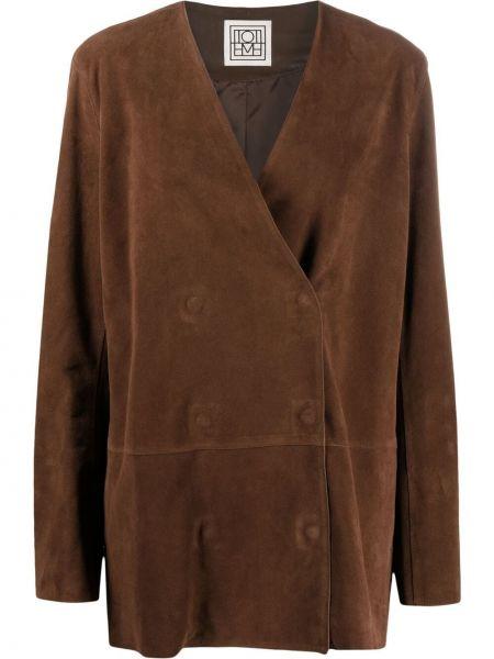 Коричневая кожаная куртка двубортная Toteme