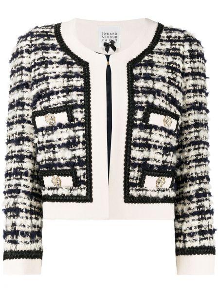С рукавами черная длинная куртка твидовая с карманами Edward Achour Paris