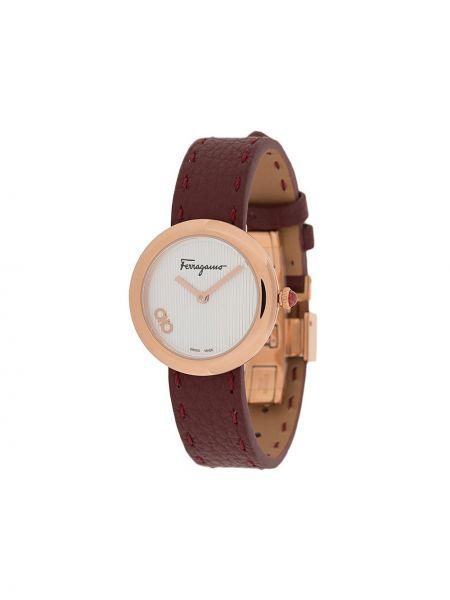 Czerwony zegarek na skórzanym pasku skórzany kwarc Salvatore Ferragamo Watches