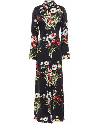 Шелковое черное платье макси с манжетами Olivia Von Halle
