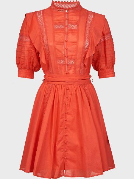 Красное платье с поясом на пуговицах Silvian Heach