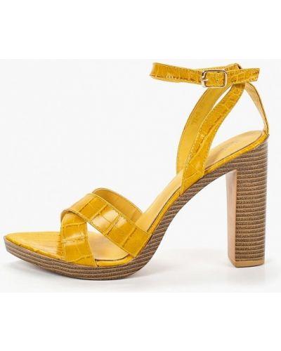 Босоножки на каблуке желтый кожаные Sergio Todzi
