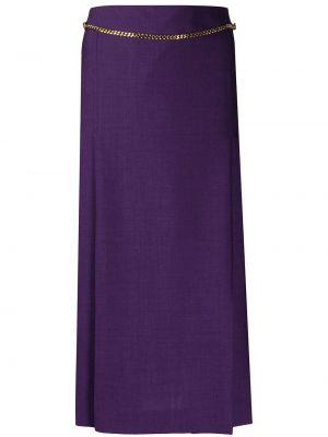 Фиолетовая с завышенной талией юбка миди со складками из мохера Victoria Beckham