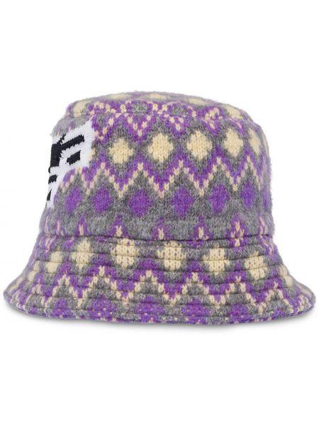 Fioletowy kapelusz wełniany z haftem Prada