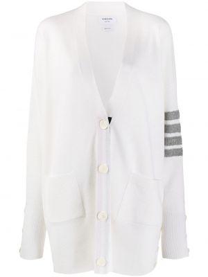 Шерстяное белое длинное пальто свободного кроя Thom Browne