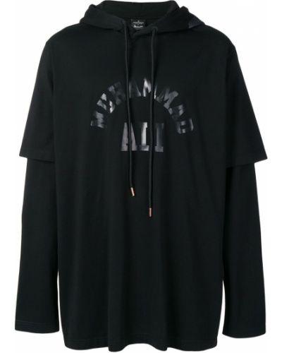 Z rękawami czarny bluza z kapturem z kapturem Marcelo Burlon County Of Milan