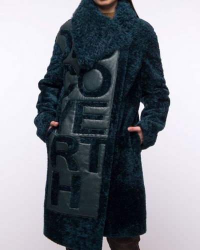 Зеленое кожаное пальто с воротником Aliance Fur