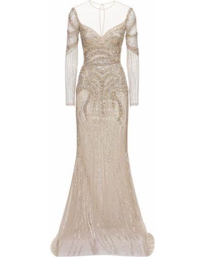Серебряное вечернее платье с бисером на молнии Zuhair Murad