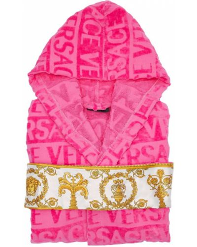 Różowy krótki szlafrok bawełniany z paskiem Versace