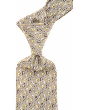 Żółty krawat z motylami z jedwabiu Battistoni