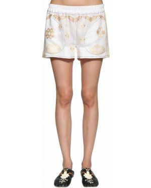 Льняные белые шорты на резинке Vita Kin