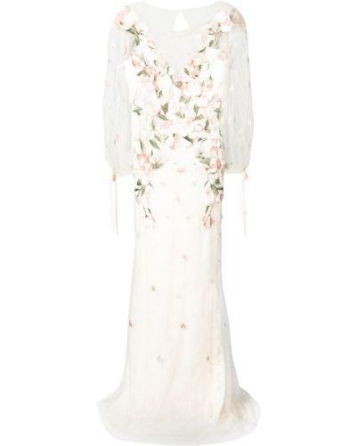Вечернее платье вязаное с V-образным вырезом Marchesa Notte