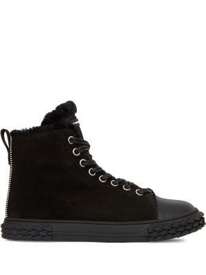 Ażurowy skórzany czarny wysoki sneakersy z łatami Giuseppe Zanotti
