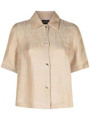 Коричневая шелковая классическая рубашка с короткими рукавами Emporio Armani