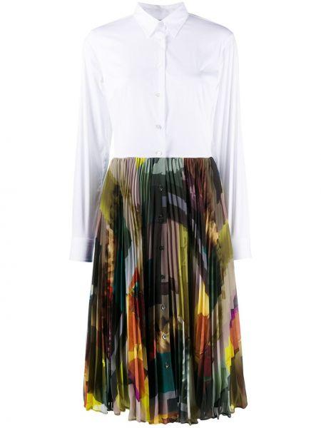 Белое классическое платье макси с длинными рукавами с воротником Sara Roka