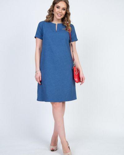 С рукавами синее джинсовое платье с кокеткой Diolche