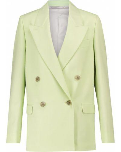 Шерстяной зеленый пиджак двубортный Acne Studios