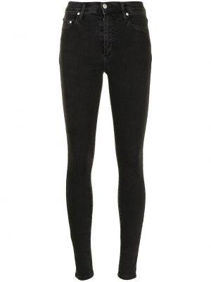 Хлопковые черные джинсы-скинни на пуговицах Nobody Denim