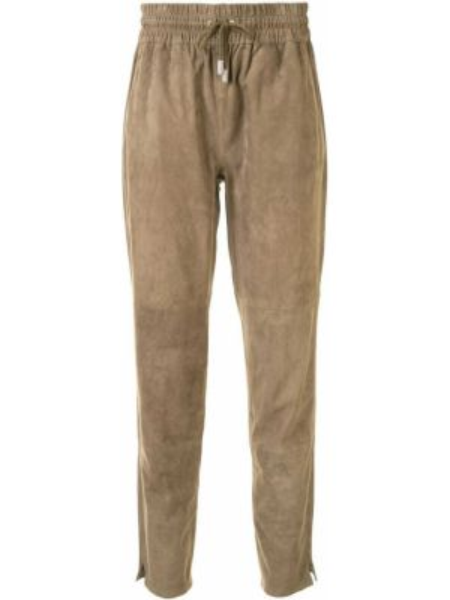 Кожаные зауженные коричневые брюки с поясом Arma