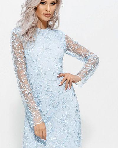 Голубое зимнее платье Gepur