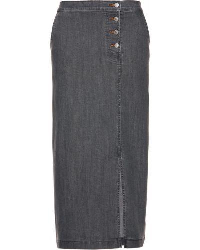 Джинсовая юбка на пуговицах серая Bonprix
