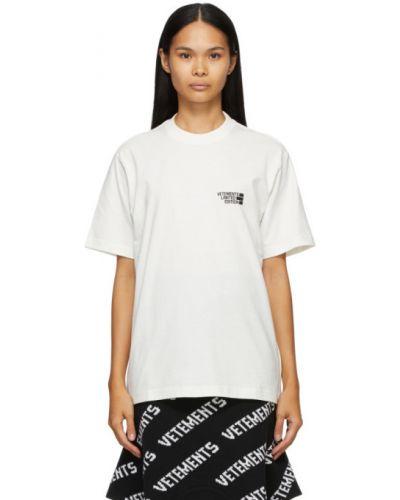 Хлопковая с рукавами белая рубашка Vetements