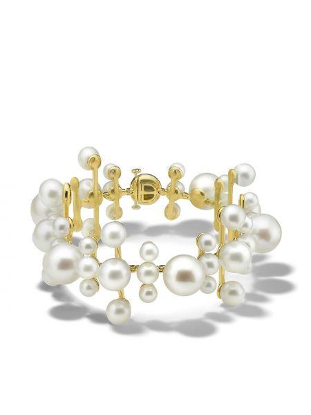 Текстильный золотой браслет золотой с жемчугом Ippolita