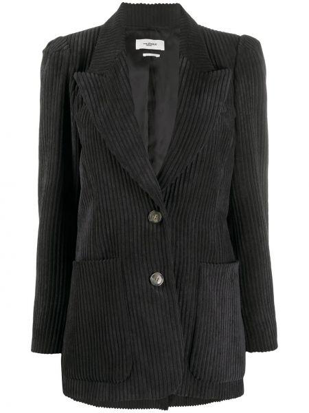 Однобортный черный удлиненный пиджак вельветовый Isabel Marant étoile