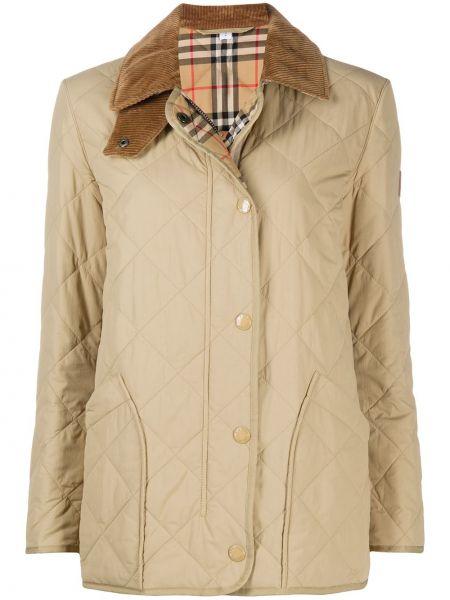 Brązowy pikowana kurtka z mankietami z kieszeniami z długimi rękawami Burberry