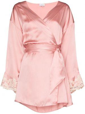 Różowy satynowy szlafrok koronkowy La Perla