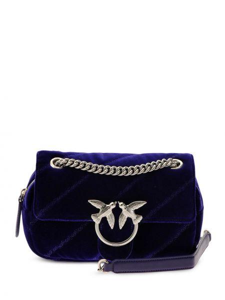 Синяя стеганая кожаная сумка через плечо Pinko
