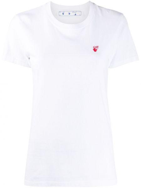 Biały bawełna koszula z krótkim rękawem z haftem okrągły dekolt Off-white