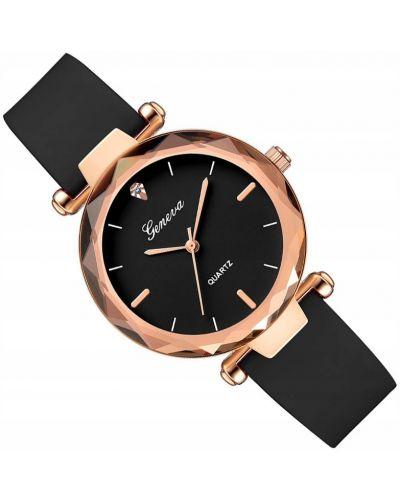 Czarny złoty zegarek elegancki Geneva