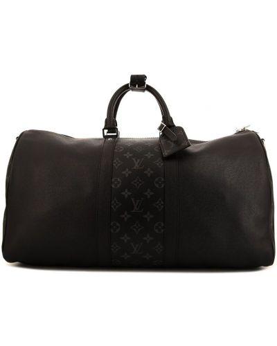 Черная кожаная дорожная сумка на молнии Louis Vuitton