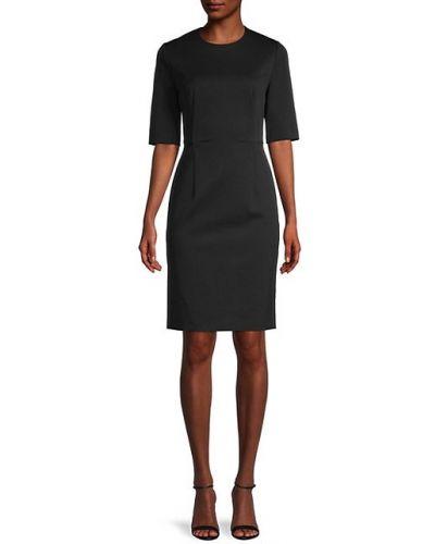 Приталенное черное платье-футляр из вискозы Boss Hugo Boss