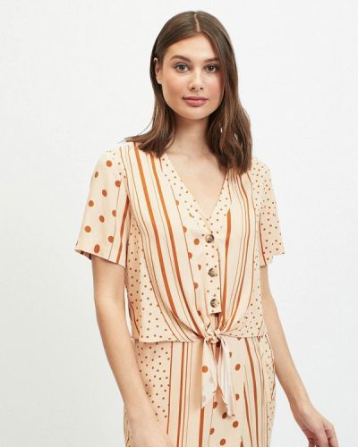 Блузка с коротким рукавом бежевый Miss Selfridge