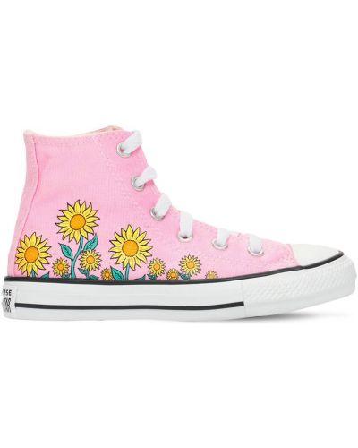 Розовые кеды на шнуровке из канваса Converse