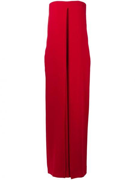 Вечернее красное шелковое вечернее платье с драпировкой Valentino