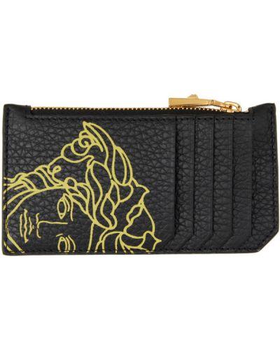 Włókienniczy czarny etui na klucze z gniazdem prążkowany Versace