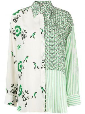 Шелковая зеленая классическая рубашка с длинными рукавами Ermanno Scervino