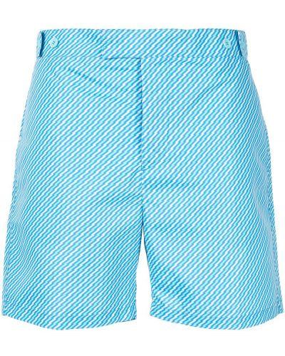 Niebieskie krótkie szorty z paskiem z printem Frescobol Carioca