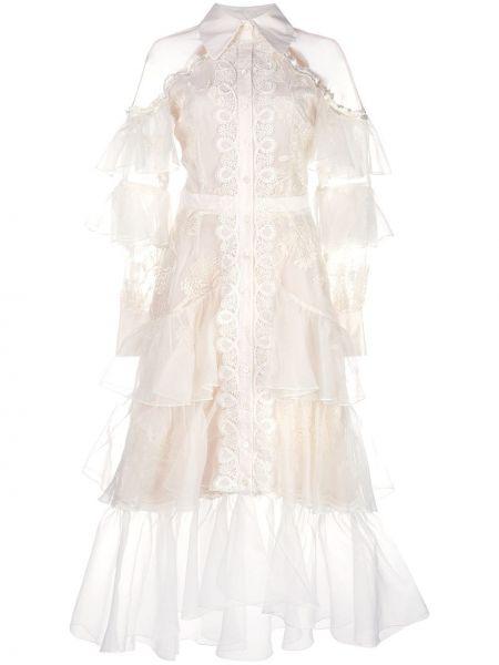 Платье миди с открытыми плечами - белое Marchesa