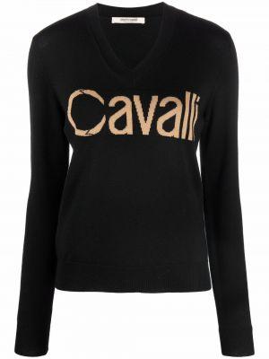 Шерстяной джемпер - черный Roberto Cavalli