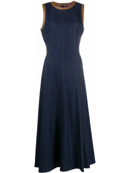Прямое приталенное кожаное платье без рукавов Ralph Lauren