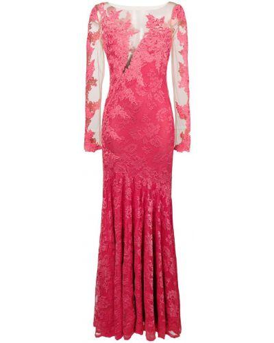 Розовое платье макси с вышивкой Olvi´s