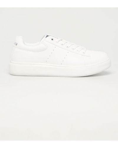 Białe sneakersy sznurowane Trussardi Jeans