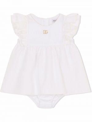 Biała sukienka bawełniana Dolce & Gabbana Kids