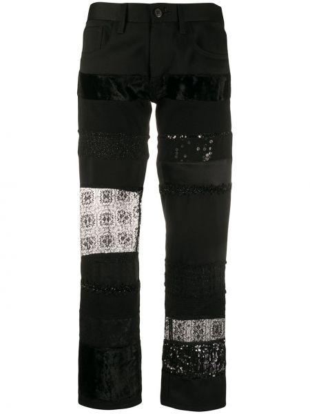 Черные укороченные брюки с вышивкой с поясом на пуговицах Junya Watanabe Comme Des Garçons Pre-owned