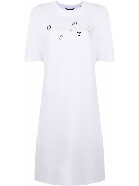 Белое платье мини с принтом с вырезом Armani Exchange