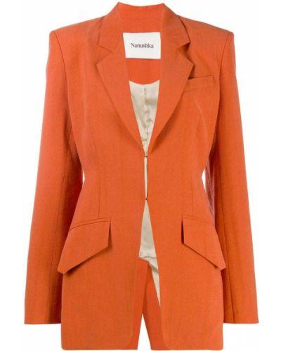 Оранжевый приталенный удлиненный пиджак с карманами Nanushka